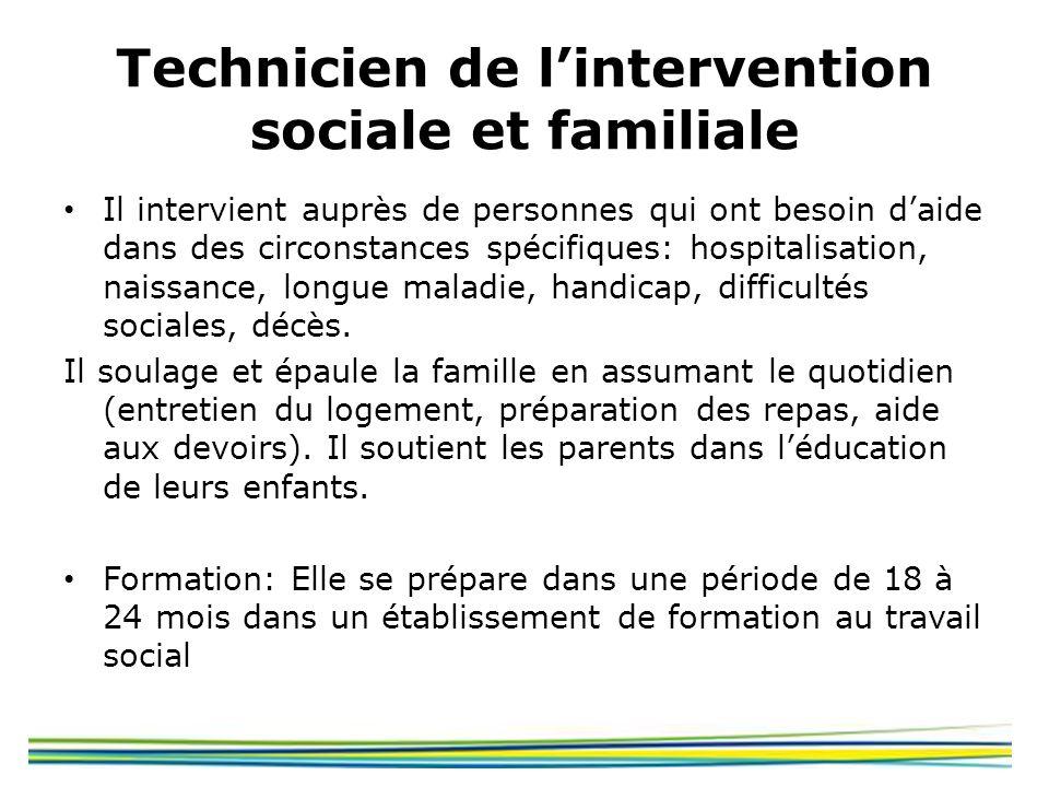 Technicien de lintervention sociale et familiale Il intervient auprès de personnes qui ont besoin daide dans des circonstances spécifiques: hospitalis