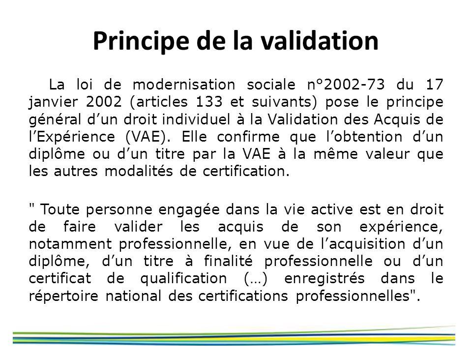 Principe de la validation La loi de modernisation sociale n°2002-73 du 17 janvier 2002 (articles 133 et suivants) pose le principe général dun droit i