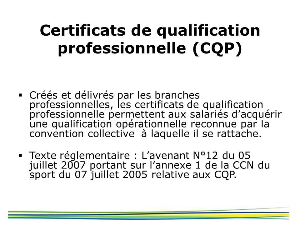 Certificats de qualification professionnelle (CQP) Créés et délivrés par les branches professionnelles, les certificats de qualification professionnel