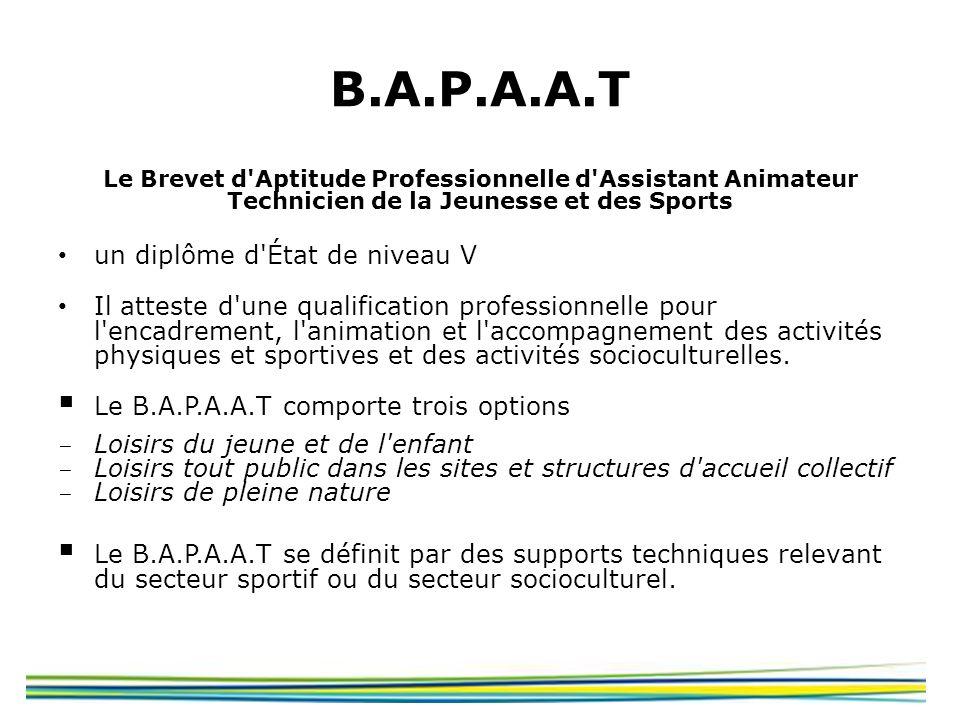 B.A.P.A.A.T Le Brevet d'Aptitude Professionnelle d'Assistant Animateur Technicien de la Jeunesse et des Sports un diplôme d'État de niveau V Il attest
