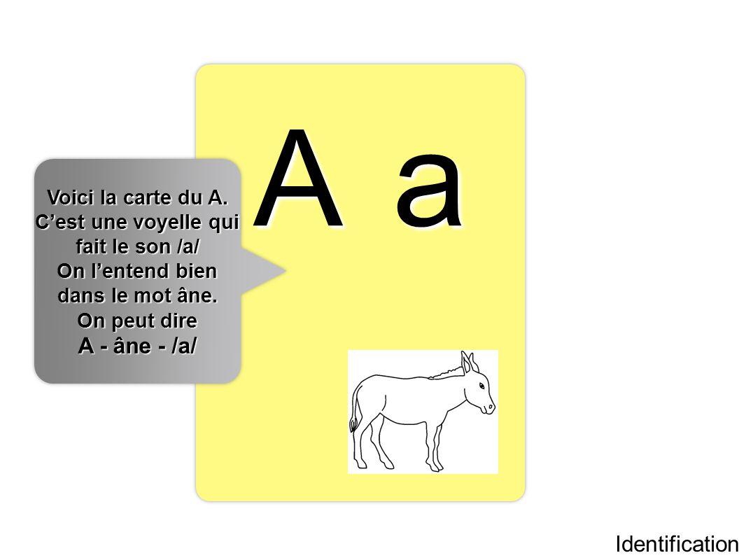 A a Identification Voici la carte du A. Cest une voyelle qui fait le son /a/ On lentend bien dans le mot âne. On peut dire A - âne - /a/ Voici la cart