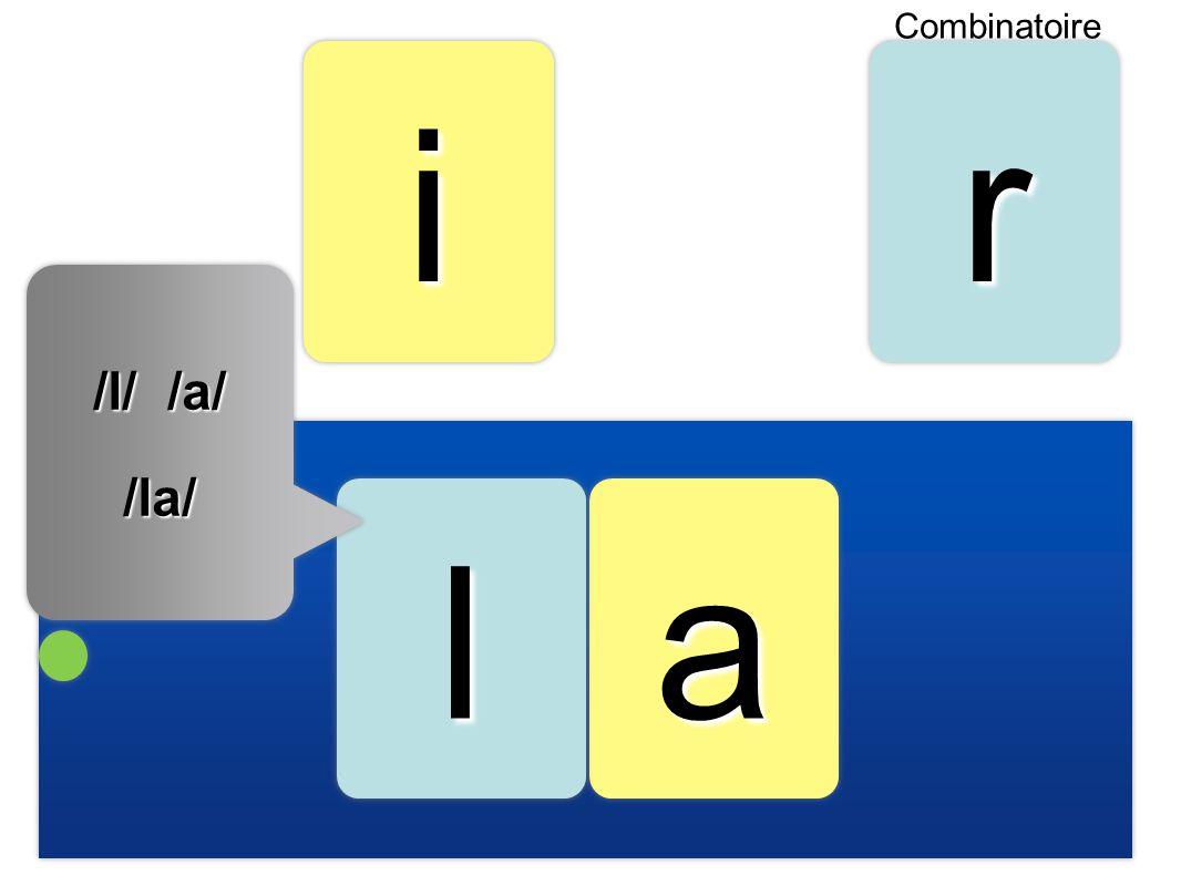 aa iirr ll Combinatoire /l/ /a/ /la/ /la/