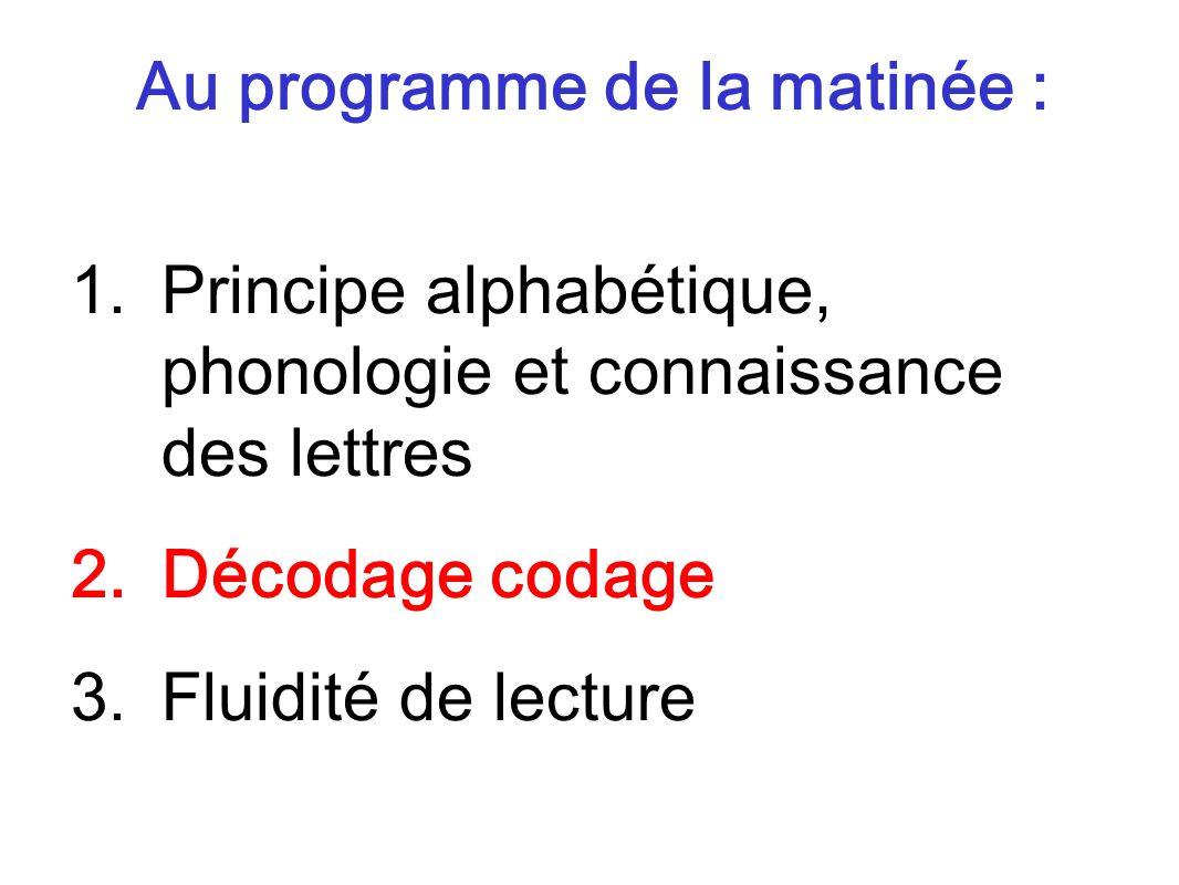 Au programme de la matinée : 1.Principe alphabétique, phonologie et connaissance des lettres 2.Décodage codage 3.Fluidité de lecture