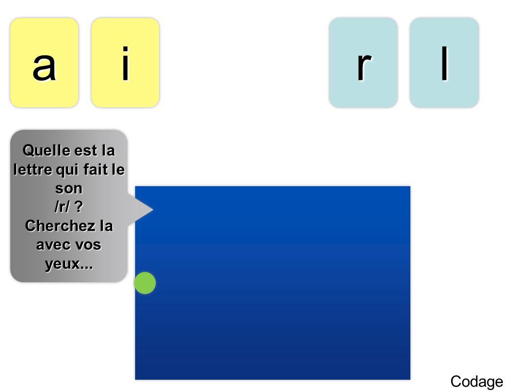 aa Codage llrrii Quelle est la lettre qui fait le son /r/ ? Cherchez la avec vos yeux... Quelle est la lettre qui fait le son /r/ ? Cherchez la avec v