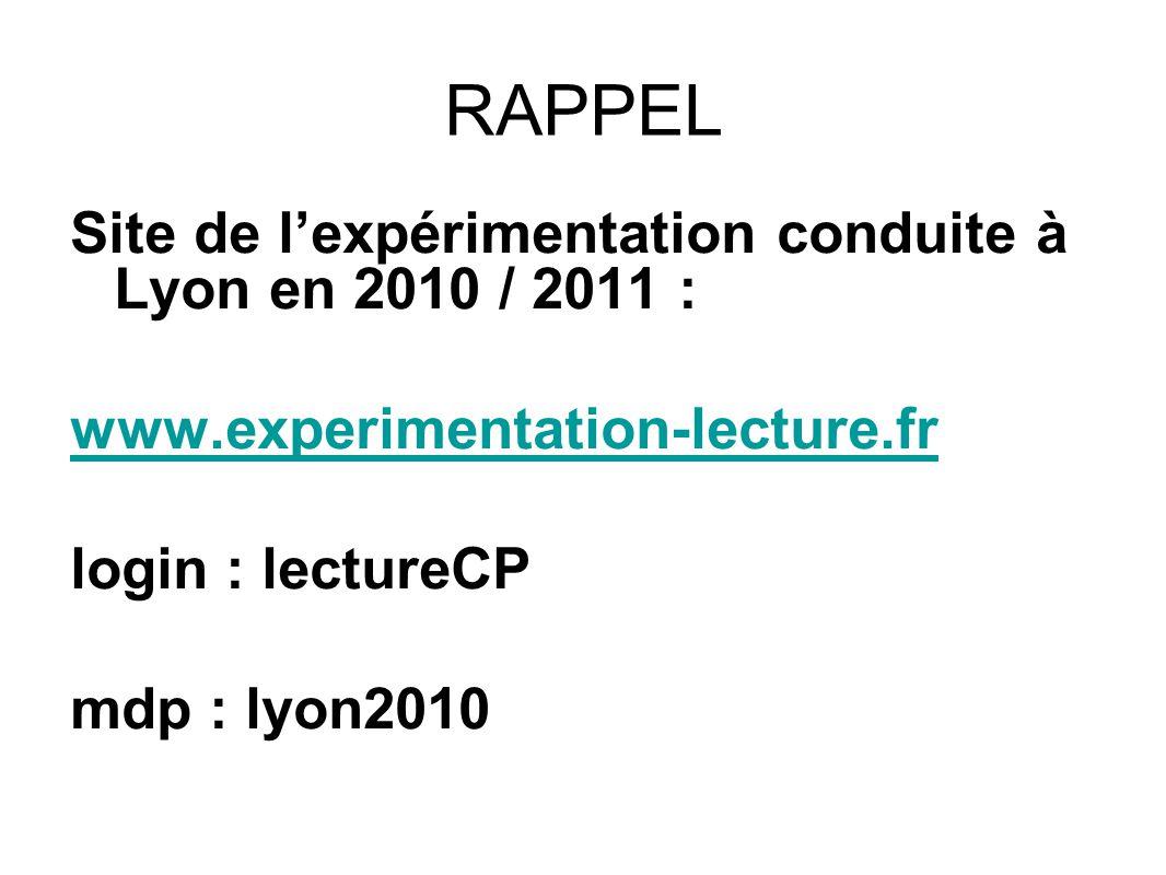 RAPPEL Site de lexpérimentation conduite à Lyon en 2010 / 2011 : www.experimentation-lecture.fr login : lectureCP mdp : lyon2010