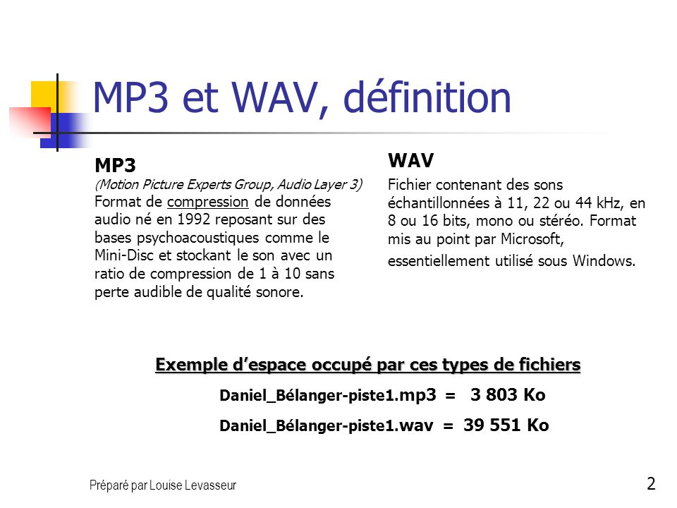 Préparé par Louise Levasseur 2 MP3 et WAV, définition MP3 ( Motion Picture Experts Group, Audio Layer 3) Format de compression de données audio né en 1992 reposant sur des bases psychoacoustiques comme le Mini-Disc et stockant le son avec un ratio de compression de 1 à 10 sans perte audible de qualité sonore.