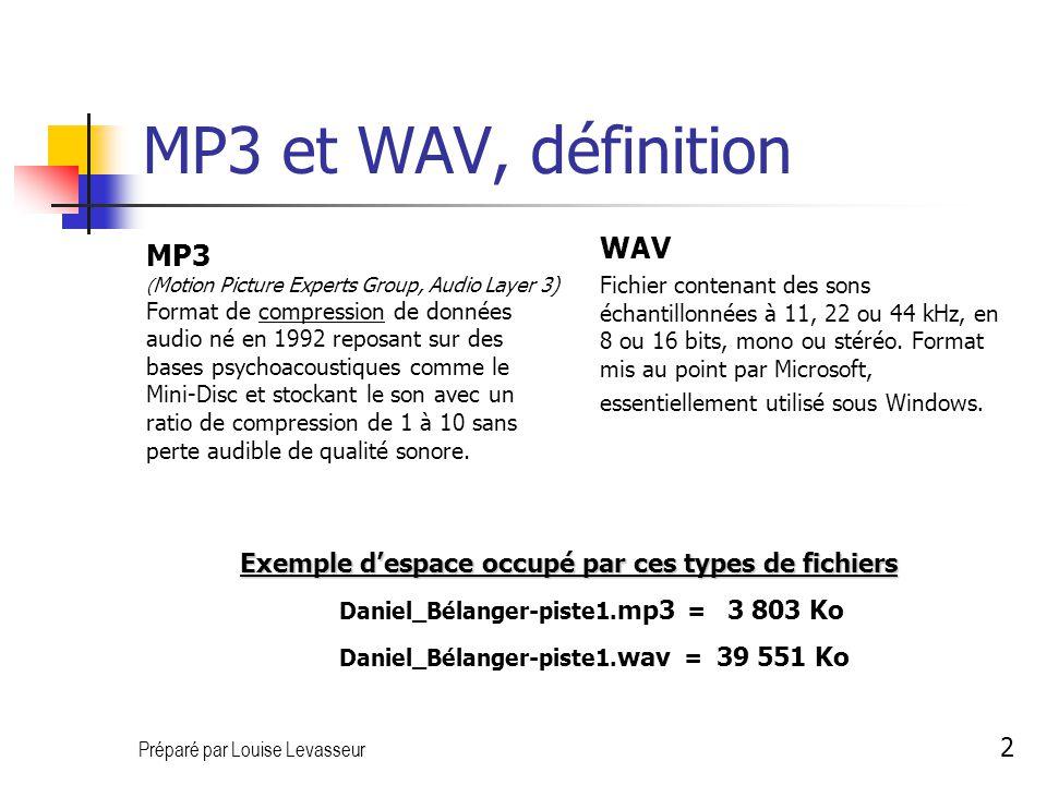 Préparé par Louise Levasseur 3 Enregistrement Démarrer, Programme… Pour démarrer MUSICMATCH (Menu Démarrer, Programme… ) Options/Affichage/Afficher le magnétophone Cliquez sur le bouton Magn.