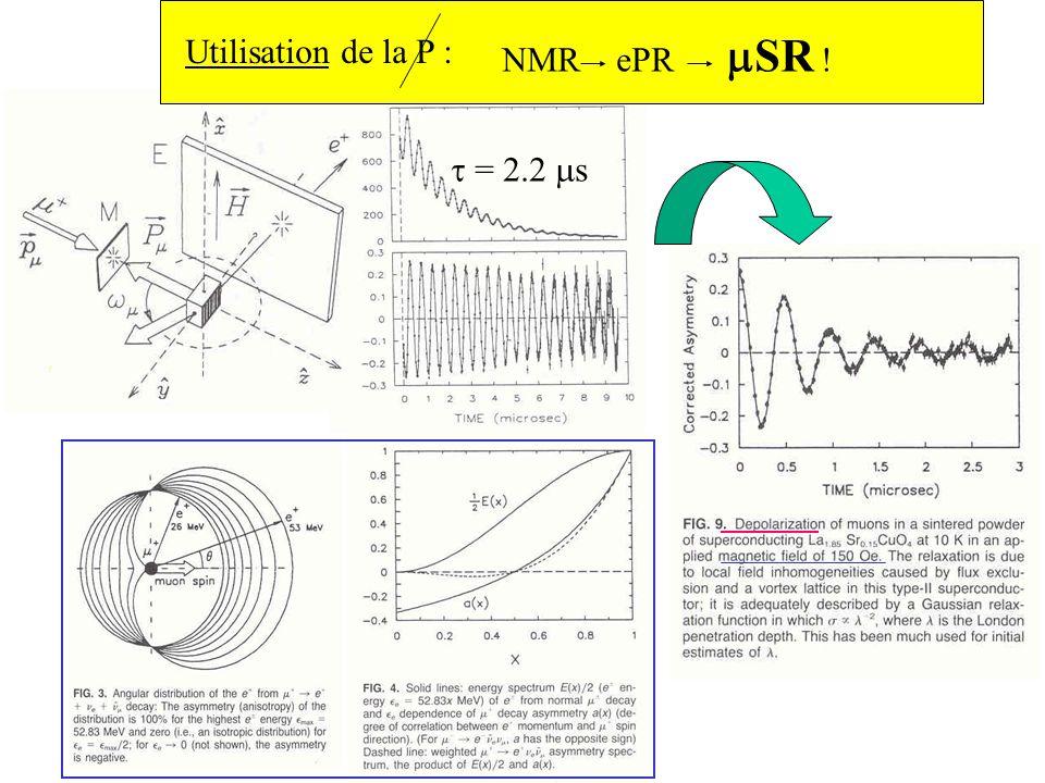 Utilisation de la P : NMR ePR SR ! = 2.2 s