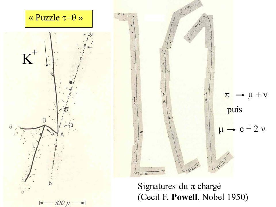K + Signatures du chargé (Cecil F. Powell, Nobel 1950) puis e + 2 « Puzzle »