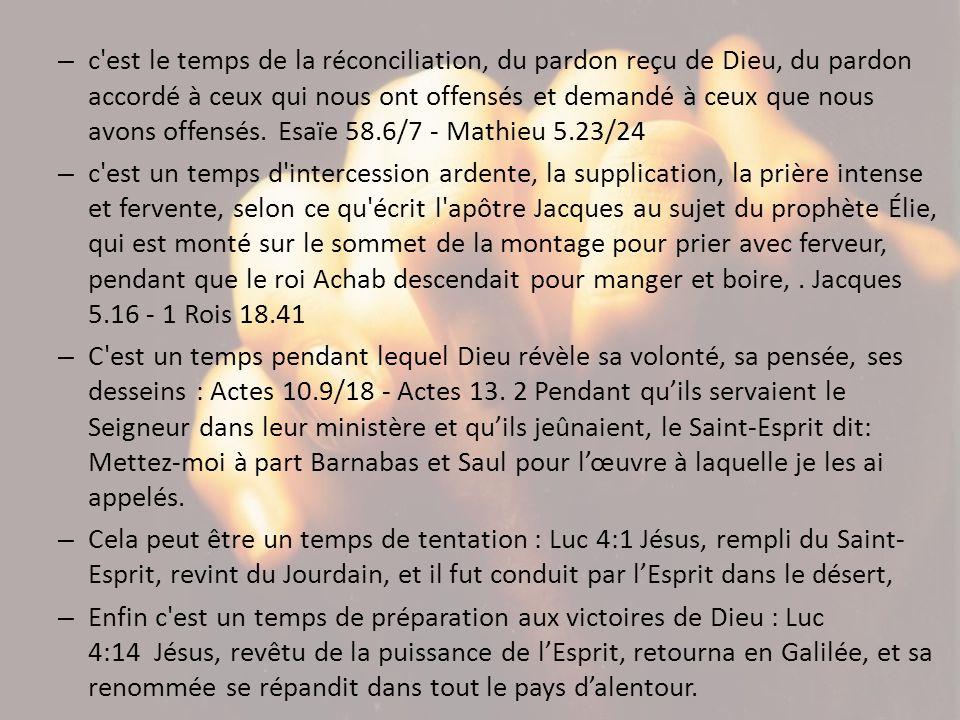 – c'est le temps de la réconciliation, du pardon reçu de Dieu, du pardon accordé à ceux qui nous ont offensés et demandé à ceux que nous avons offensé