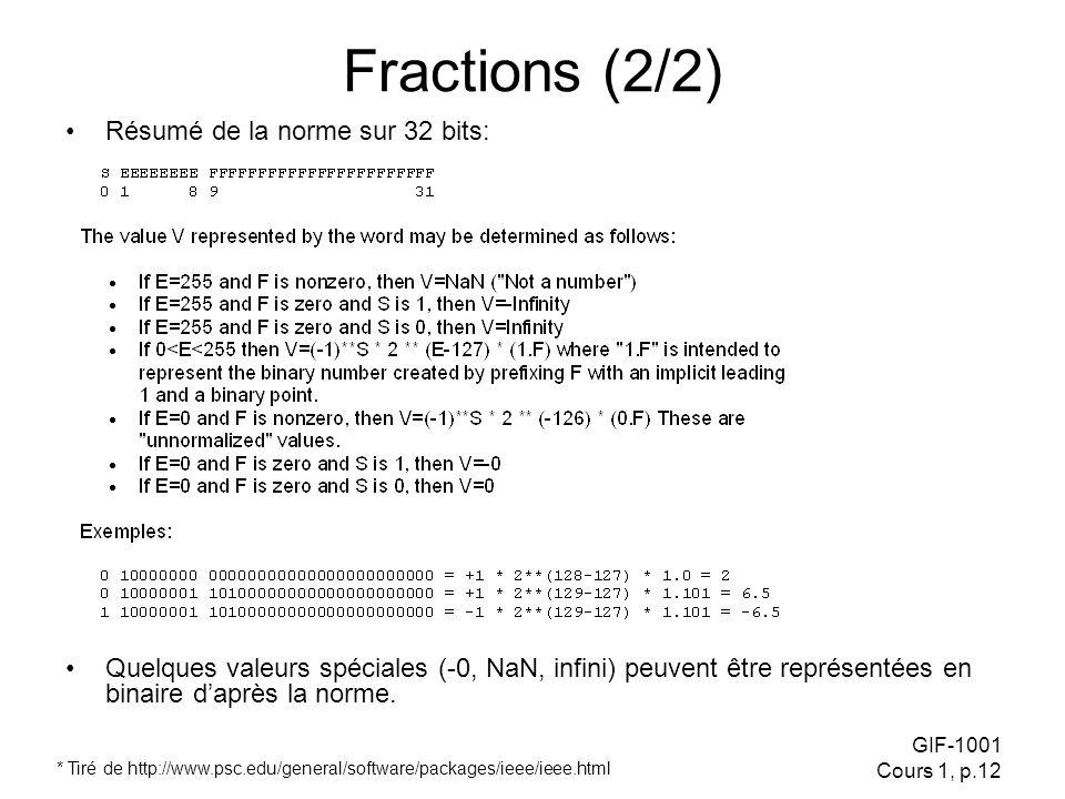 GIF-1001 Cours 1, p.12 Fractions (2/2) Résumé de la norme sur 32 bits: * Tiré de http://www.psc.edu/general/software/packages/ieee/ieee.html Quelques valeurs spéciales (-0, NaN, infini) peuvent être représentées en binaire daprès la norme.