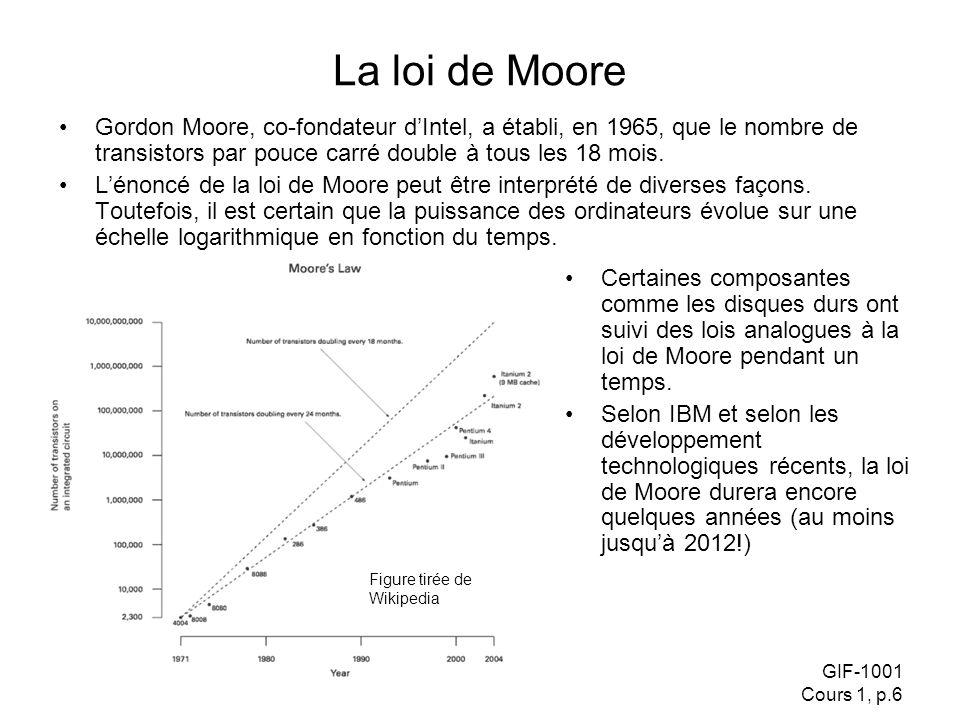 GIF-1001 Cours 1, p.6 La loi de Moore Gordon Moore, co-fondateur dIntel, a établi, en 1965, que le nombre de transistors par pouce carré double à tous les 18 mois.