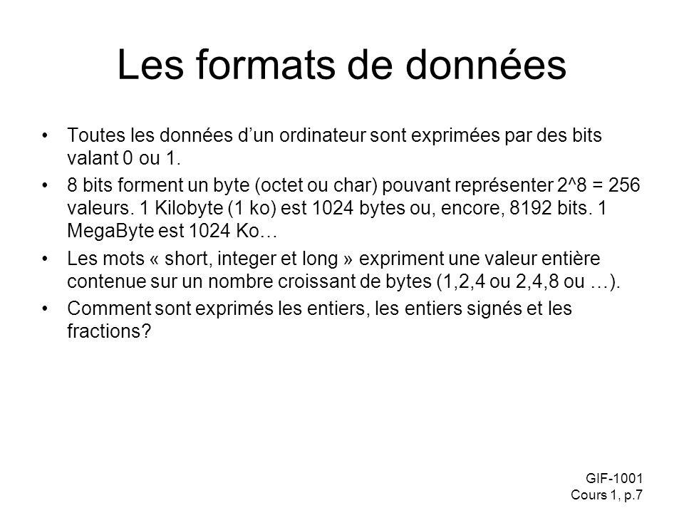 GIF-1001 Cours 1, p.7 Les formats de données Toutes les données dun ordinateur sont exprimées par des bits valant 0 ou 1.