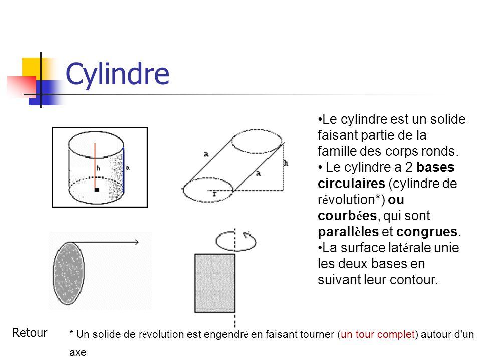 Cylindre Le cylindre est un solide faisant partie de la famille des corps ronds.