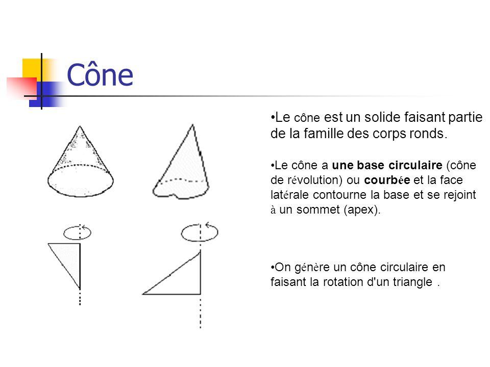 Cône Le cône est un solide faisant partie de la famille des corps ronds.