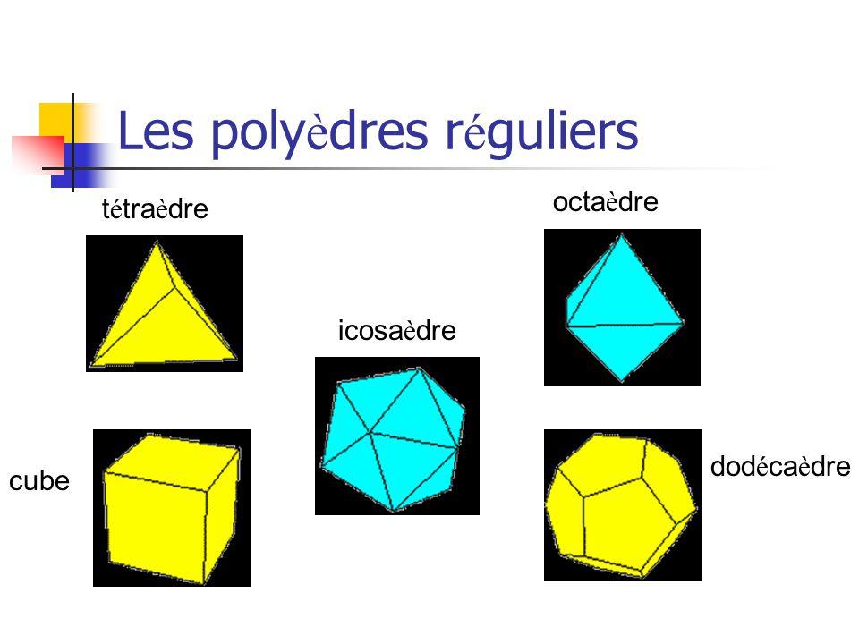 Les poly è dres r é guliers t é tra è dre octa è dre icosa è dre cube dod é ca è dre
