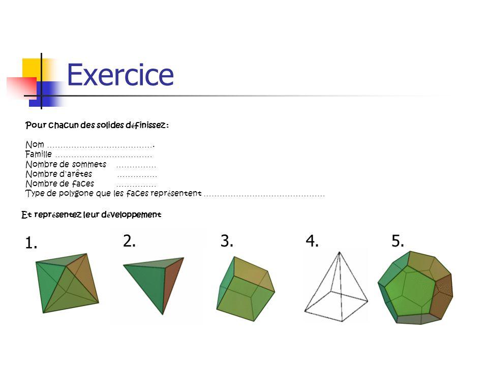 Exercice Pour chacun des solides d é finissez : Nom ………………………………….