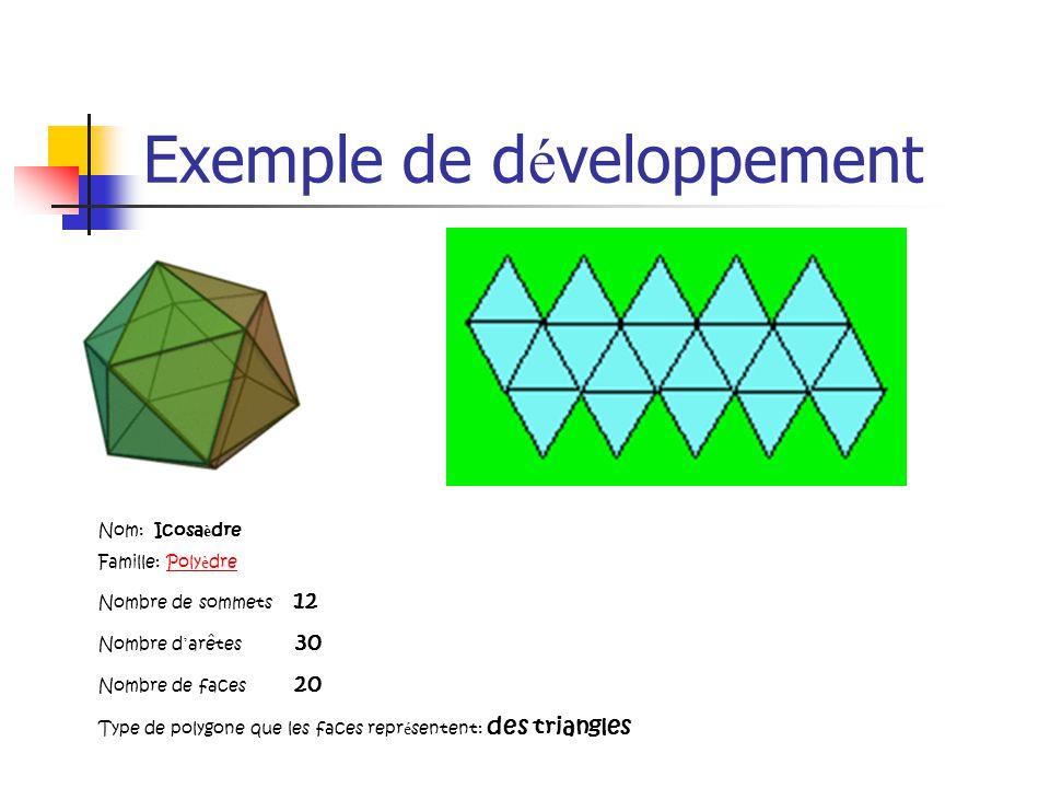 Exemple de d é veloppement Nom: Icosa è dre Famille: Poly è drePoly è dre Nombre de sommets 12 Nombre d arêtes 30 Nombre de faces 20 Type de polygone que les faces repr é sentent: des triangles