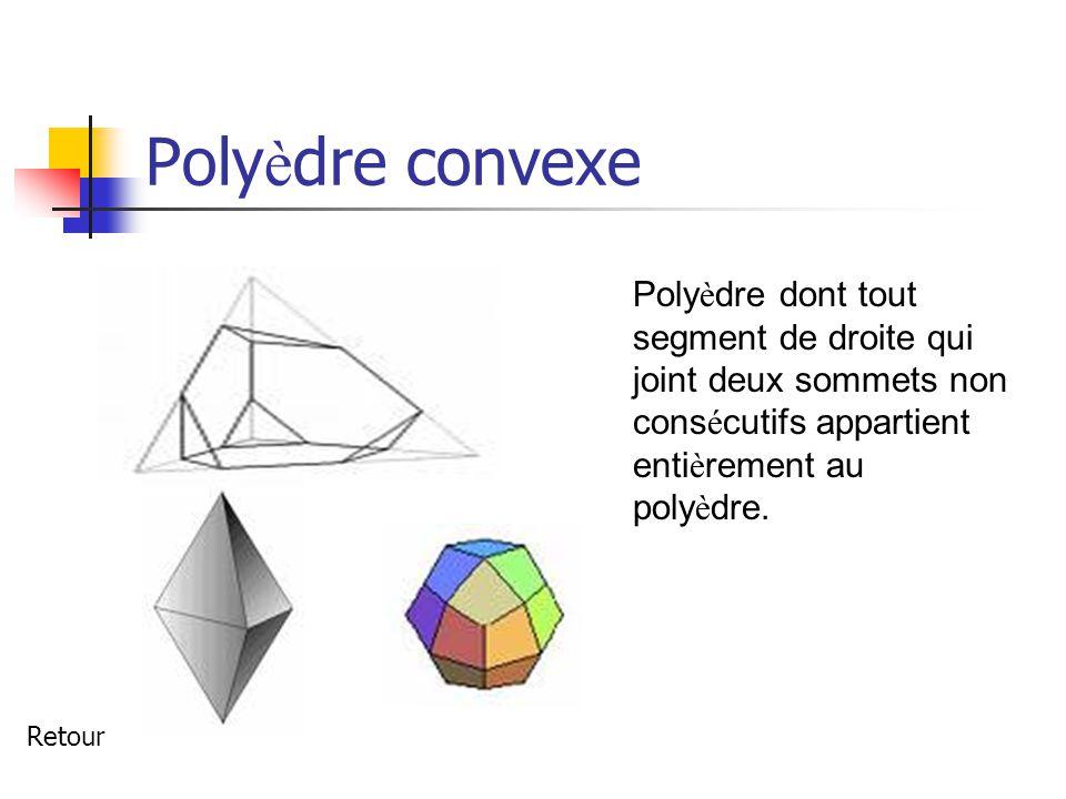 Poly è dre convexe Poly è dre dont tout segment de droite qui joint deux sommets non cons é cutifs appartient enti è rement au poly è dre.