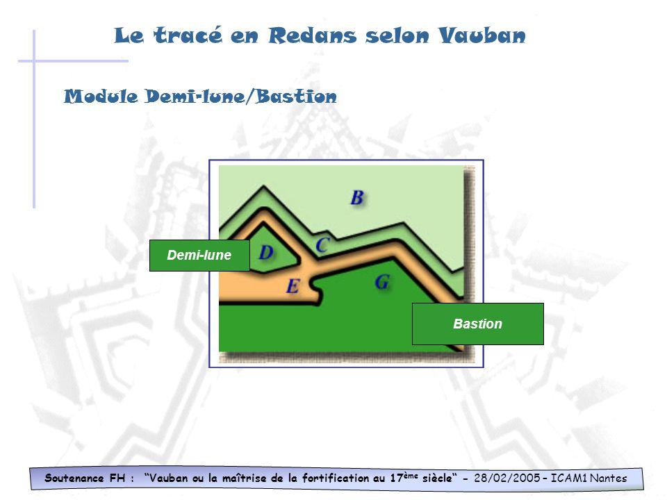 Module Demi-lune/Bastion Soutenance FH : Vauban ou la maîtrise de la fortification au 17 ème siècle - 28/02/2005 – ICAM1 Nantes Bastion Demi-lune Le tracé en Redans selon Vauban