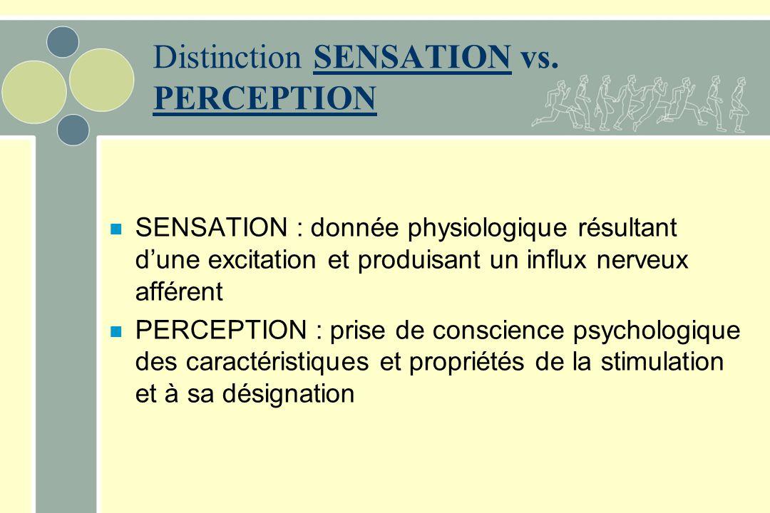 Distinction SENSATION vs.