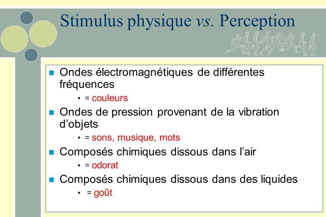 Seuil Intensité minimale qui peut être perçue En pratique: Intensité perçue 50% du temps.