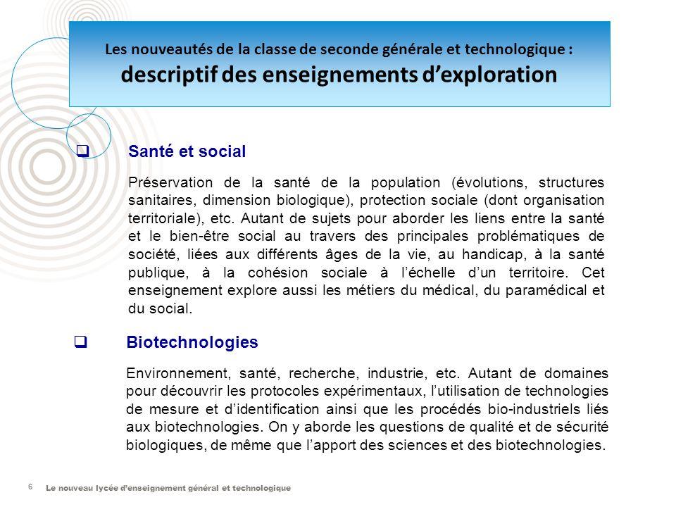 Le nouveau lycée denseignement général et technologique 6 Santé et social Préservation de la santé de la population (évolutions, structures sanitaires