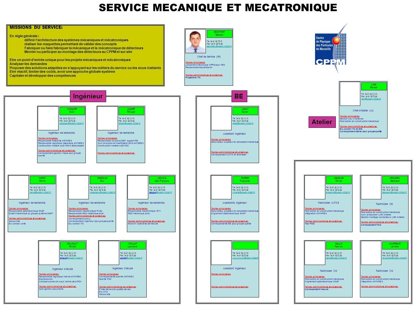 Ingénieur de recherche Taches principales: Responsable flotabilité ANTARES Responsable logistique mécanique ANTARES Construction modèle coût KM3 à câb