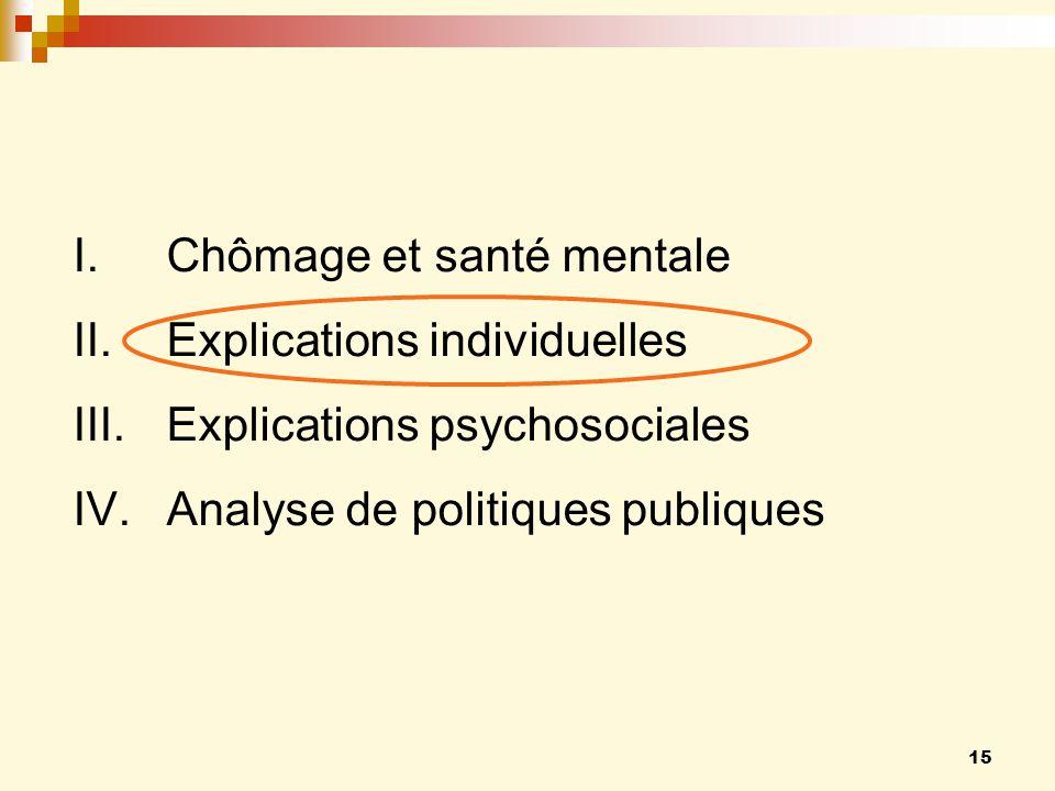 15 I.Chômage et santé mentale II.Explications individuelles III.Explications psychosociales IV.Analyse de politiques publiques