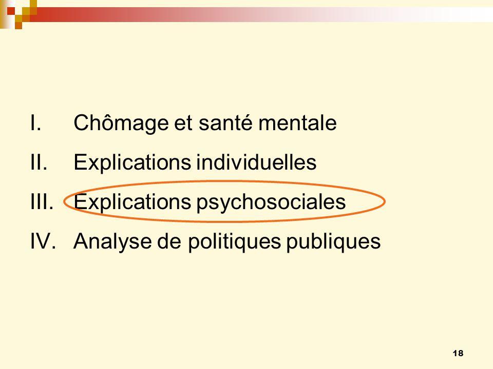 18 I.Chômage et santé mentale II.Explications individuelles III.Explications psychosociales IV.Analyse de politiques publiques