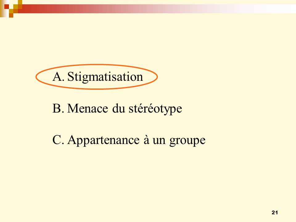 21 A.Stigmatisation B.Menace du stéréotype C.Appartenance à un groupe