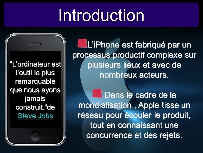 5 IntroductionIntroduction 5 LiPhone est fabriqué par un processus productif complexe sur plusieurs lieux et avec de nombreux acteurs. Dans le cadre d