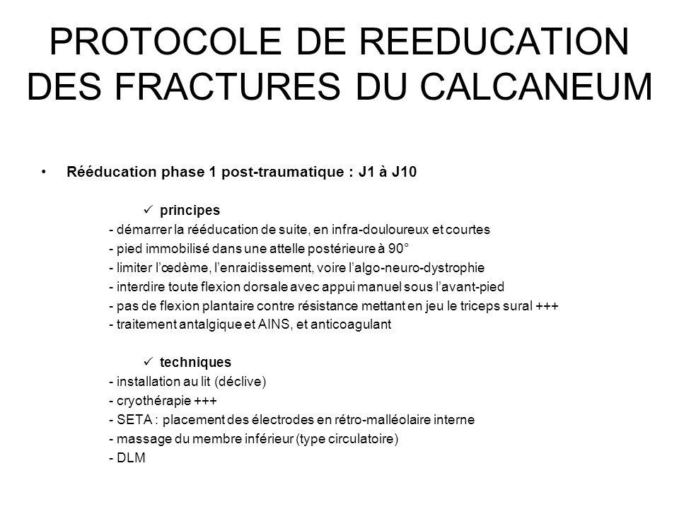 PROTOCOLE DE REEDUCATION DES FRACTURES DU CALCANEUM Rééducation phase 1 post-traumatique : J1 à J10 principes - démarrer la rééducation de suite, en i