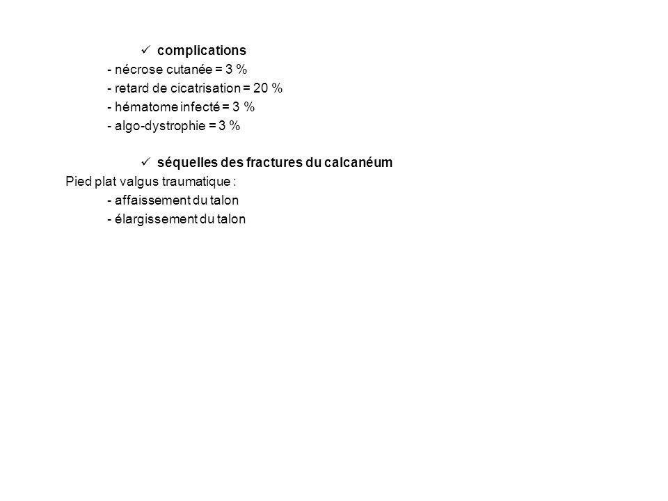 complications - nécrose cutanée = 3 % - retard de cicatrisation = 20 % - hématome infecté = 3 % - algo-dystrophie = 3 % séquelles des fractures du cal