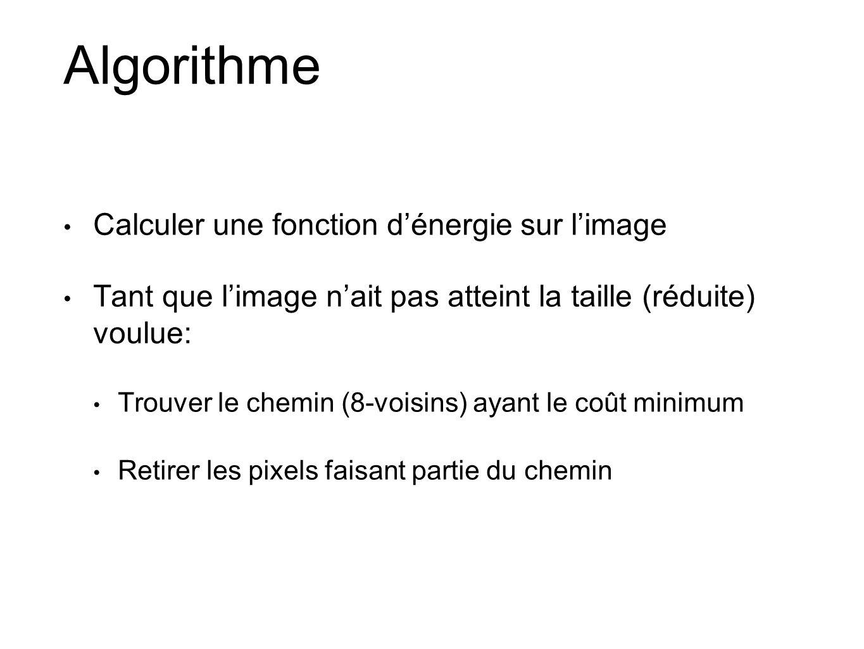 Algorithme Calculer une fonction dénergie sur limage Tant que limage nait pas atteint la taille (réduite) voulue: Trouver le chemin (8-voisins) ayant