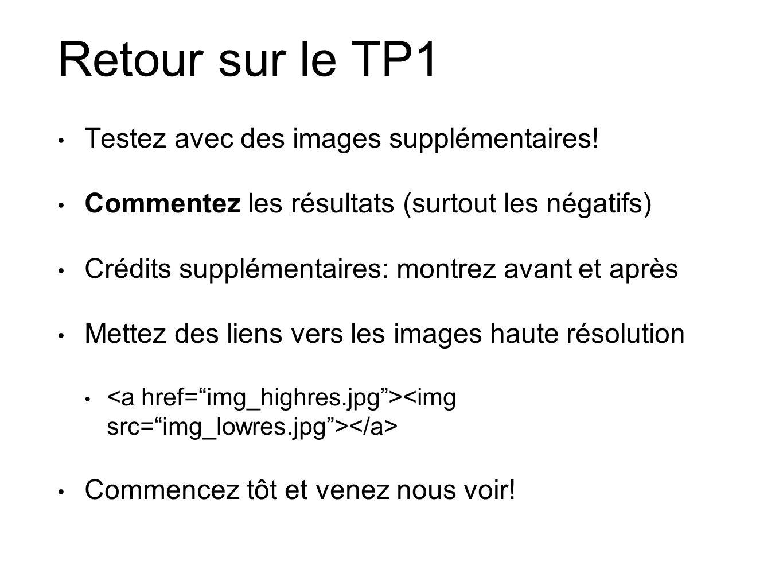 Retour sur le TP1 Testez avec des images supplémentaires! Commentez les résultats (surtout les négatifs) Crédits supplémentaires: montrez avant et apr