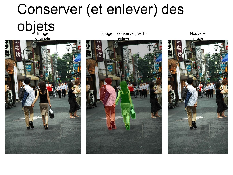 Conserver (et enlever) des objets Image originale Rouge = conserver, vert = enlever Nouvelle image