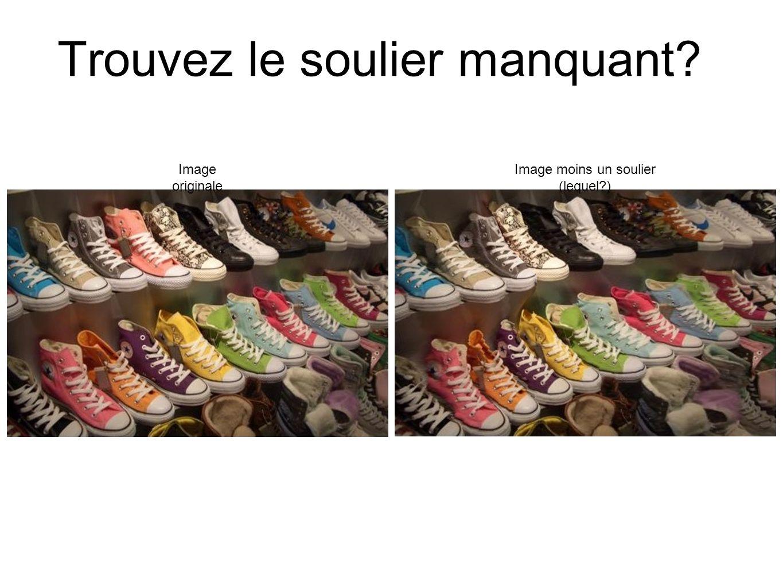Trouvez le soulier manquant? Image originale Image moins un soulier (lequel?)