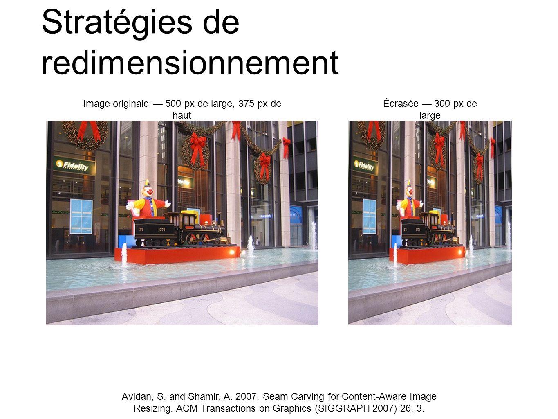 Stratégies de redimensionnement Image originale 500 px de large, 375 px de haut Écrasée 300 px de large Avidan, S. and Shamir, A. 2007. Seam Carving f