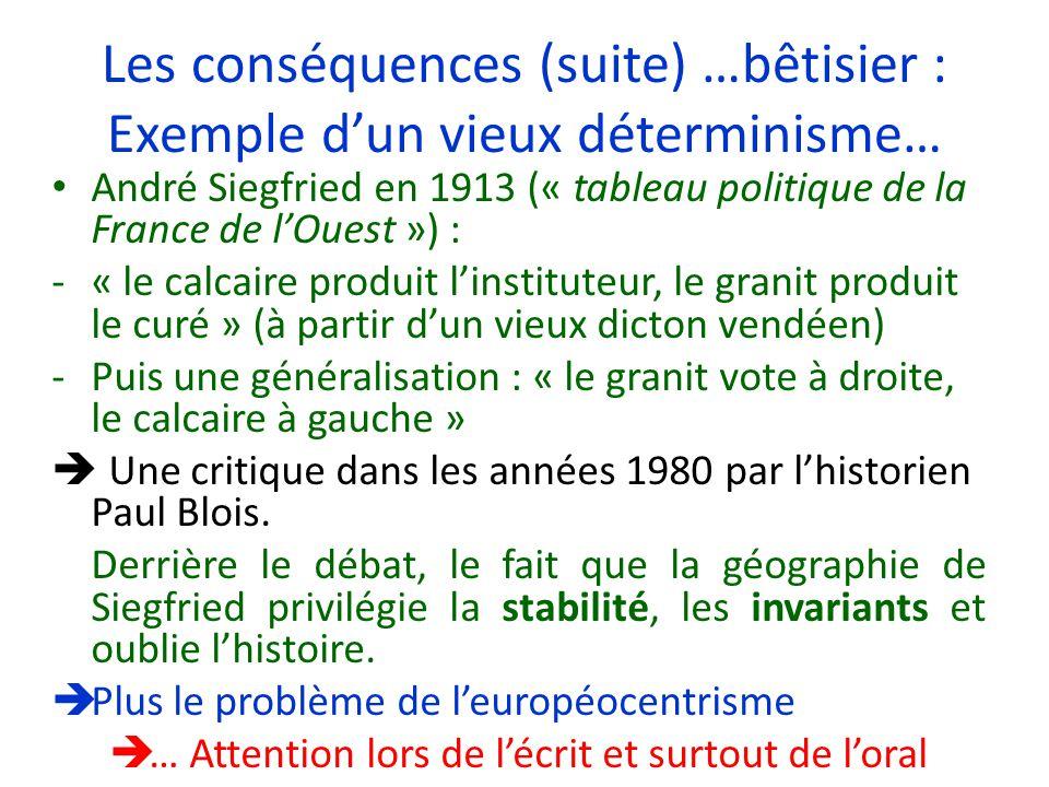 Les conséquences (suite) …bêtisier : Exemple dun vieux déterminisme… André Siegfried en 1913 (« tableau politique de la France de lOuest ») : -« le ca