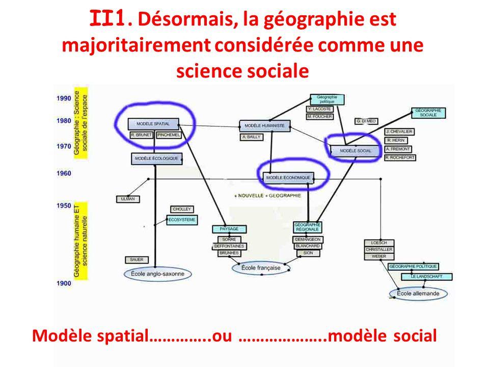 II1. Désormais, la géographie est majoritairement considérée comme une science sociale Modèle spatial…………..ou ………………..modèle social