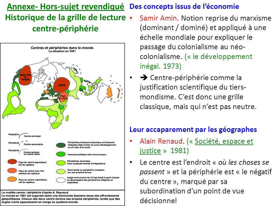 Annexe- Hors-sujet revendiqué Historique de la grille de lecture centre-périphérie Des concepts issus de léconomie Samir Amin. Notion reprise du marxi