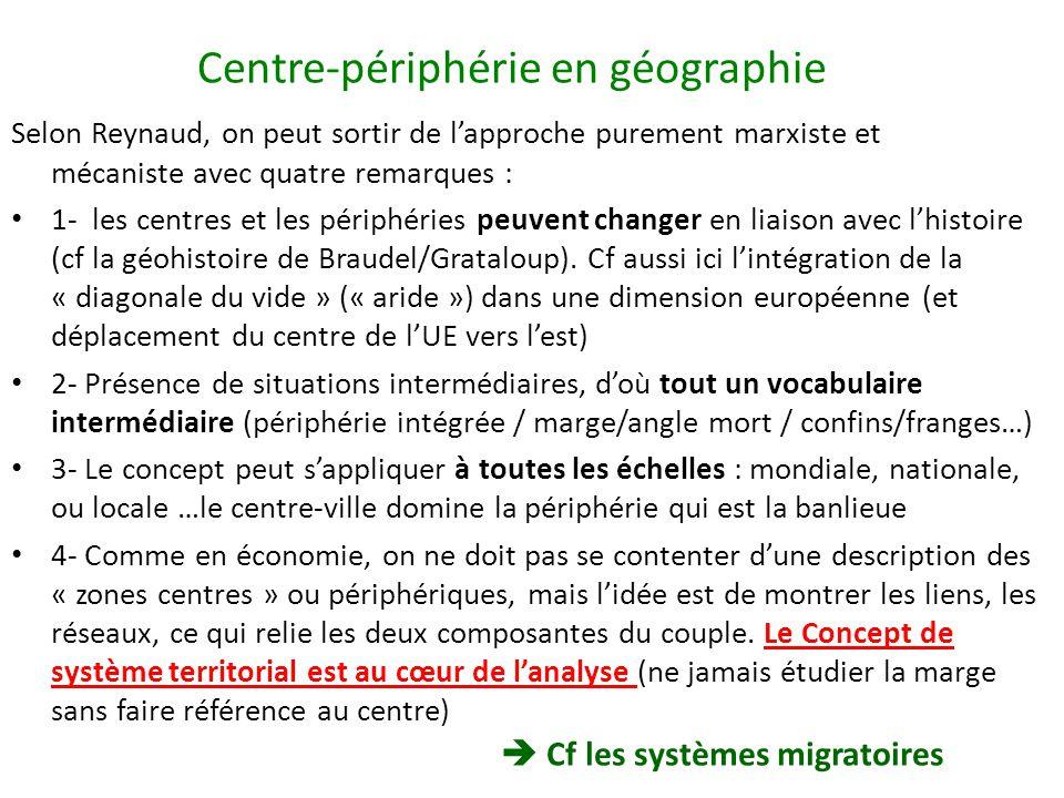 Centre-périphérie en géographie Selon Reynaud, on peut sortir de lapproche purement marxiste et mécaniste avec quatre remarques : 1- les centres et le