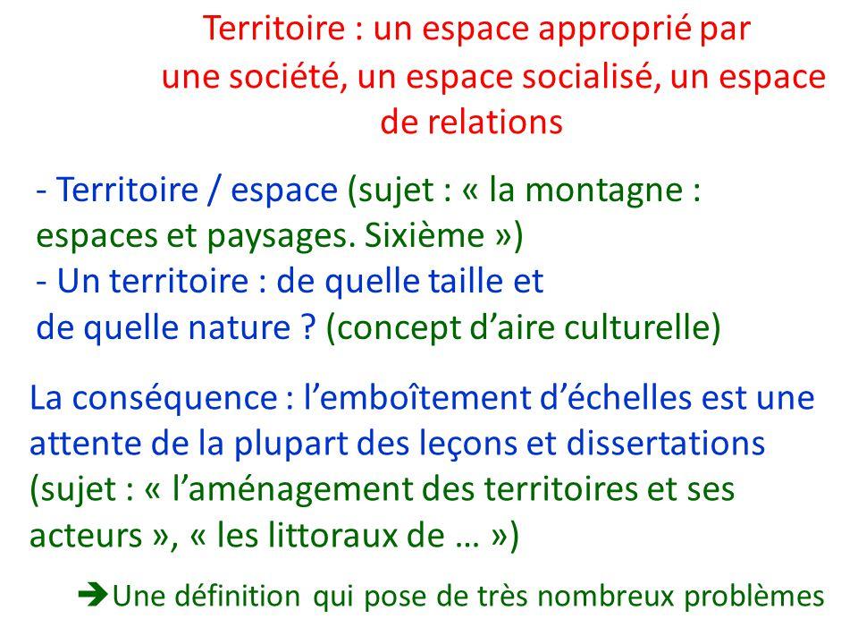 Territoire : un espace approprié par une société, un espace socialisé, un espace de relations Une définition qui pose de très nombreux problèmes - Ter