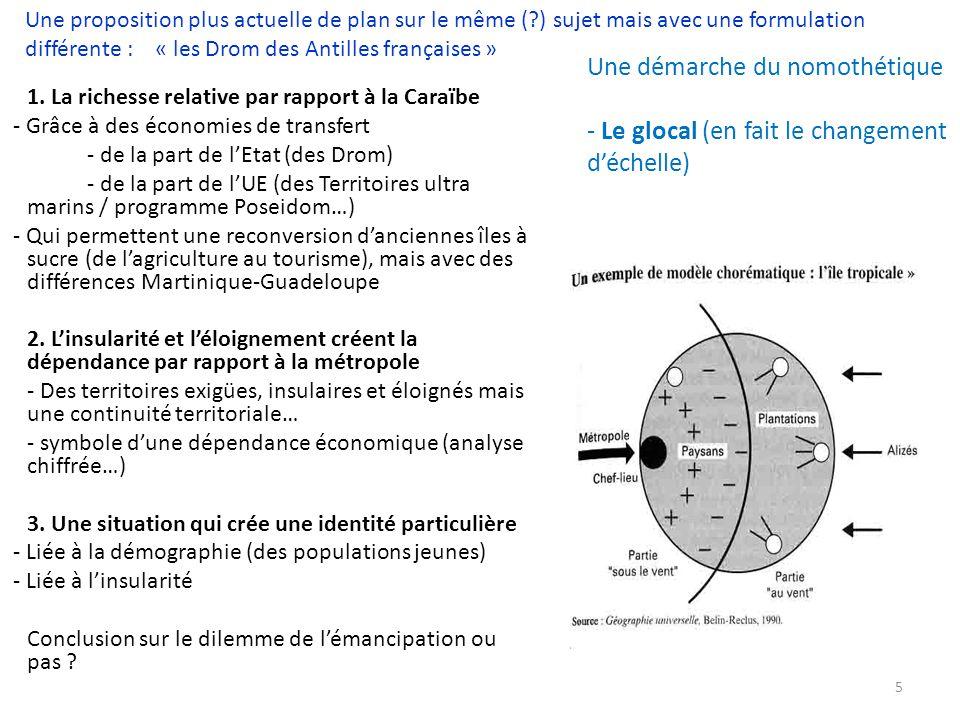 Le milieu naturel nest plus au centre de lanalyse Le politique est intégré dans lanalyse Le concept de territoire (en lieu et place despace).