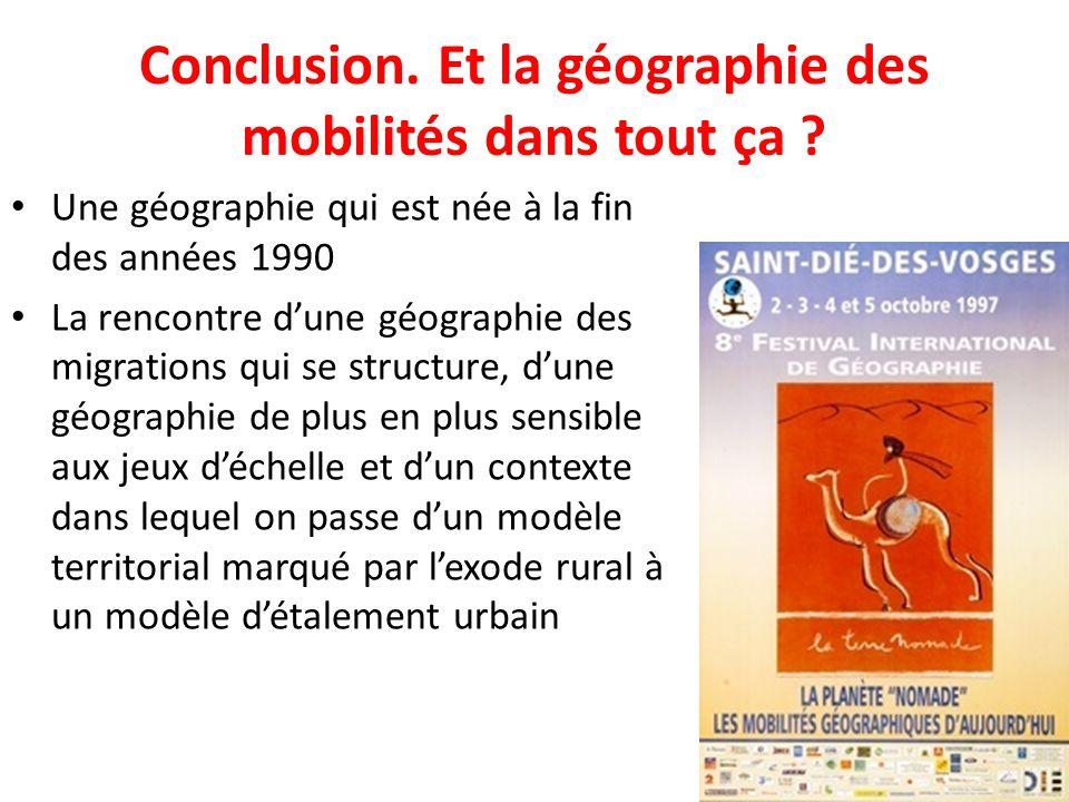 Conclusion. Et la géographie des mobilités dans tout ça ? Une géographie qui est née à la fin des années 1990 La rencontre dune géographie des migrati