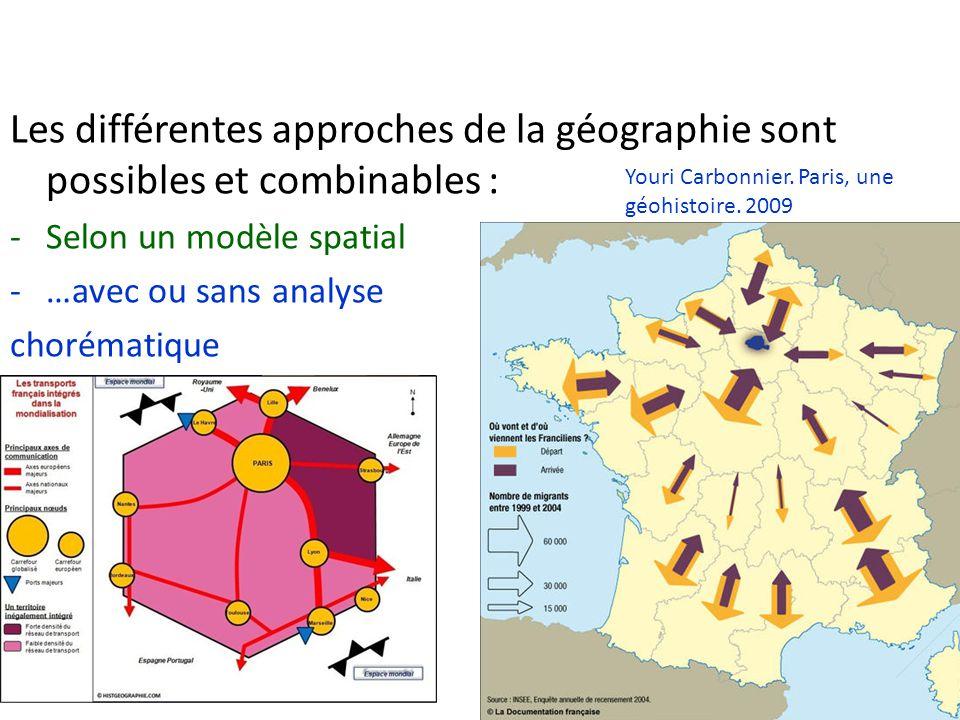 Les différentes approches de la géographie sont possibles et combinables : -Selon un modèle spatial -…avec ou sans analyse chorématique Youri Carbonni
