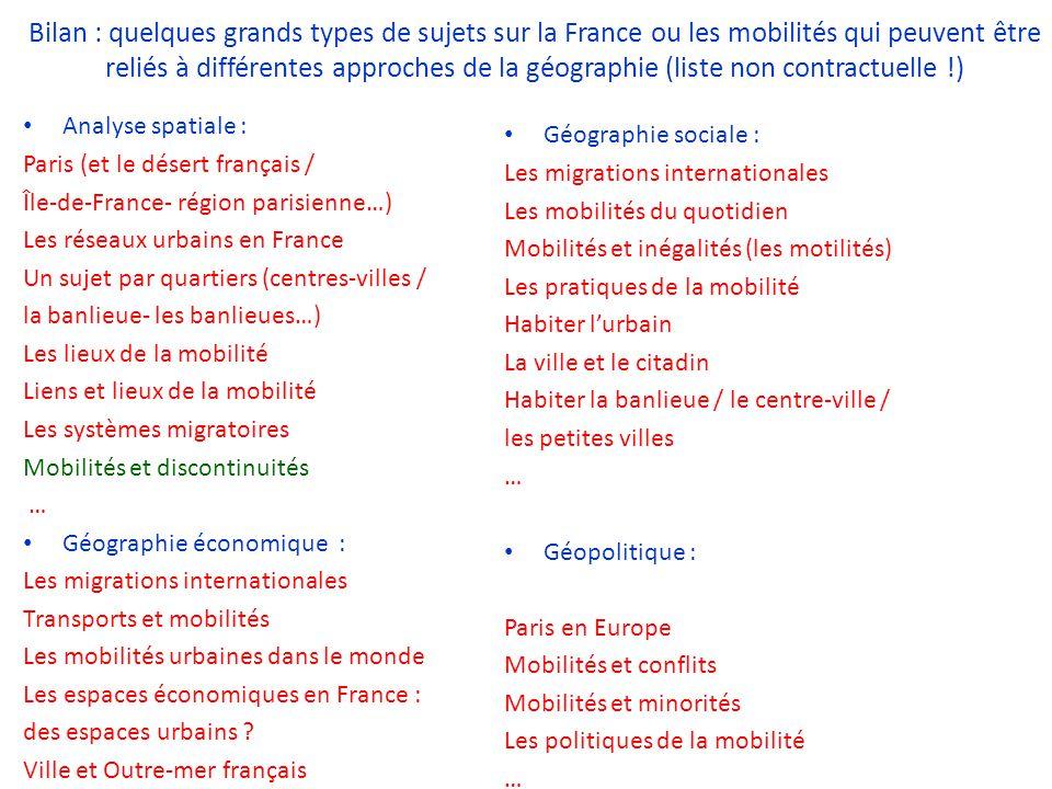 Analyse spatiale : Paris (et le désert français / Île-de-France- région parisienne…) Les réseaux urbains en France Un sujet par quartiers (centres-vil