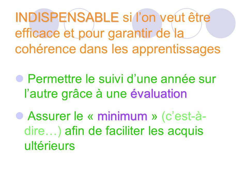 INDISPENSABLE INDISPENSABLE si lon veut être efficace et pour garantir de la cohérence dans les apprentissages évaluation Permettre le suivi dune anné