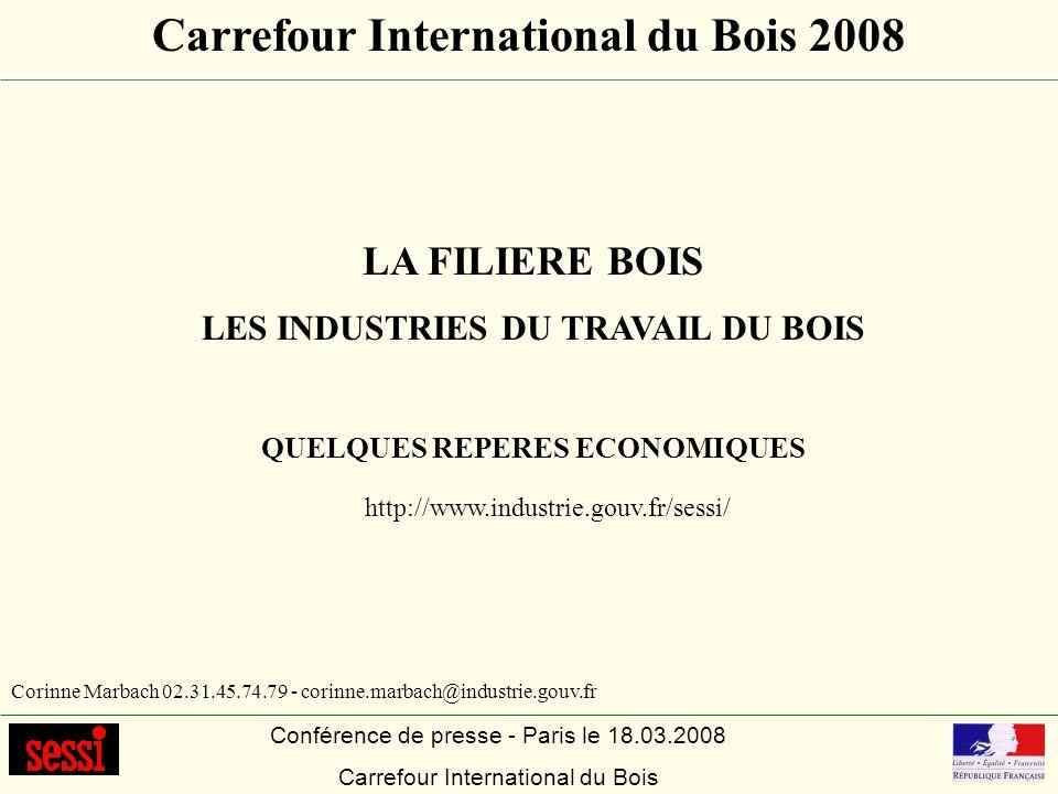 Conférence de presse - Paris le 18.03.2008 Carrefour International du Bois LA FILIERE BOIS LES INDUSTRIES DU TRAVAIL DU BOIS QUELQUES REPERES ECONOMIQ